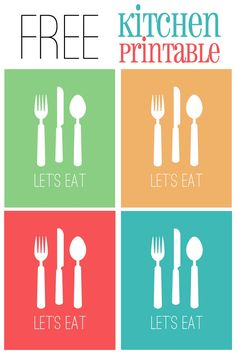 Lets Eat Kitchen Printable in 4 Colors {FREE!} from cupcakediariesblog.com | #printable #kitchen #decor