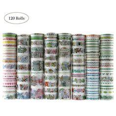 DIY Crafts Dizdkizd 100 Rolls Washi Tape Set 8mm Wide Masking Colorful Tapes for Calendar Schedule Photo Album Scrapbooking Gift Box