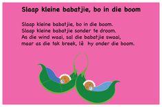 Slaap kleine babatjie, bo in die boom - Kinderrympies in Afrikaans<br> Classroom Layout, Afrikaans, Kids And Parenting, Book Lovers, Life, Teaching Ideas, Nail Art, Creative, Classroom Design