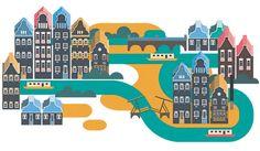 Amsterdam City Illustration by Jing Zhang