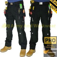 Heavy Duty Tuff Extreme Pro Work Trouser Multi Pocket Pants Mens Triple Stitched