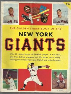 Willie Mays Unsigned New York Giants Golden Stamp Book Baseball Cover Magazine Giants Baseball, Baseball Players, Batting Average, Willie Mays, Sports Magazine, Black And White Drawing, New York Giants, Stamp Book