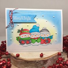 Art Impressions Rubber Stamps: Holly Jolly Set (Sku 4667) ...handmade card. Snowmen, snow, winter