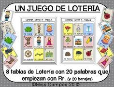 Loteria, Spanish Bingo, La letra Rr, RA, RE, RI, RO, RU
