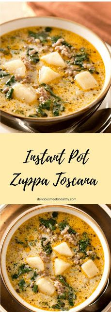 This rich and hearty Instant Pot Zuppa Toscana is comfort food at its best. It i… This rich and hearty Instant Pot Zuppa Toscana is comfort food at its best. It is truly satisfying and irresistible. More from my site Instant Pot Chicken Parm Pastta Crock Pot Recipes, Cooking Recipes, Healthy Recipes, Hearty Soup Recipes, Cooking Tips, Summer Soup Recipes, Potato Soup Recipes, Recipes With Potatoes, Italian Sausage Soup
