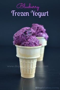 Blueberry Frozen Yogurt- requires just few ingredients and very easy to make.