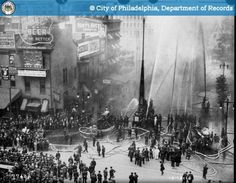 FIREFIGHTING: Fire Test, only a test of equipment Broad and Filbert Streets, Philadelphia, 1913