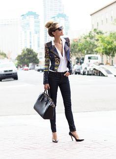 grey tux summer jacket/ black jeans //red stilleto shoes/ red bag/red belt/ white blouse with loop frills