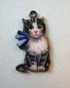 Vintage Germany Sterling Enamel Kitten Cat Silver Charm RARE | eBay