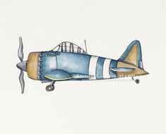 """Vintage Airplane - 8x10"""" Watercolor Print - Navy and Gold Airplane, Aviation, Plane"""