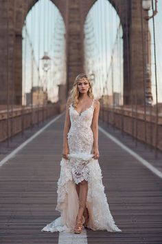 What better way to take on the big city vibe of Brooklyn than blending industrial glam with Galia Lahav highlighting urban charm and the romance of couture.