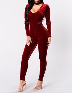 34e666c97f V Neck With Neckcloth Velvet Long Sleeve Tight Clubwear Dance Jumpsuit.  Velvet JumpsuitRed JumpsuitBodycon ...
