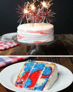 Marbled of july box cake. need 3 boxes of white cake mix, red and blue food coloring, red and blue hard candies, vanilla frosting, and wooden skewers. Fourth Of July Cakes, 4th Of July Desserts, Holiday Cakes, Holiday Treats, Food Cakes, Cupcake Cakes, Cupcakes, Peanuts, Freeze