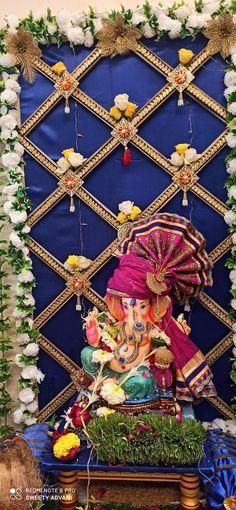Backdrop Decorations, Festival Decorations, Backdrops, Wedding Decorations, Ganesh Pooja, Ganesh Chaturthi Decoration, Ganpati Decoration At Home, Ganapati Decoration, Ganesh Idol