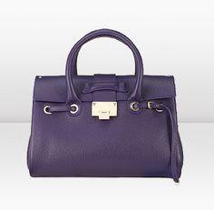 Jimmy Choo | Rosalie | Top Handle Handbag in Deep Purple Grainy Calf Leather with Detachable Shoulder Strap | JIMMYCHOO.COM