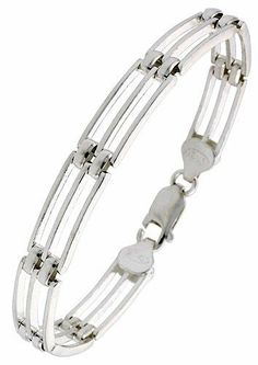 "Sterling Silver Italian binario ( BAR ) Bracelet 7"" Sabrina Silver. $51.84"