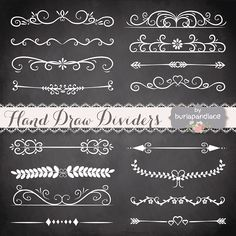 Hand Drawn flourishes dividers Graphics Drawn, flourishes, dividers clipart, Digital ornament clipart , ornaments and elements digita by burlapandlace Chalkboard Lettering, Chalkboard Designs, Chalkboard Wedding, Chalkboard Ideas, Draw Dividers, Flourish Border, Etiquette Vintage, Doodles, Chalk Art