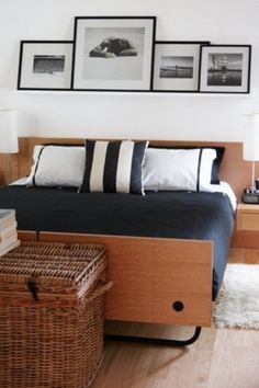 Masculine Bedroom with B&W photos on a shelf