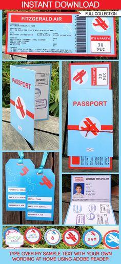 Texto EDITABLE de la invitación, pasaportes & decoraciones - colección imprimible - aeroplano Boarding Pass usted personalizar en casa - descarga instantánea