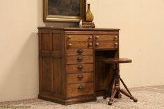 Coats & Clark ~ Spool Cabinet 1890 Antique Desk, Leather Top | eBay