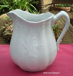 Antique White Ironstone Pitcher Wheat & Rose by 4HollyLaneAntiques, $160.00