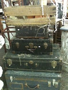 The Seed Box Antiques: The Seed Box at the Dallas Vintage Gift Market Vintage Suitcases, Vintage Luggage, Antique Booth Displays, Louis Vuitton, Metal Roof, Vintage Gifts, Great Photos, Burlap, Seeds