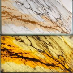 Calacatta Borghini backlight combined with 3mm marble and 5mm glass on the back!