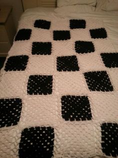 Black and white checkered blanket for son Kevin