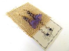 Purple Flower Earrings, Vintage Inspired Dangles, Violets, Botanical Jewelry, Wild Flower, FTD Awareness by moonlilydesigns on Etsy