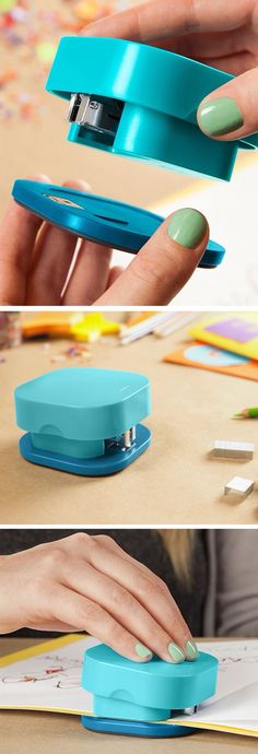 Stapler with a magnetic, detachable base that lets you staple materials of any size. Genius!