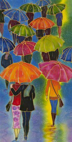 Love this mixed media artwork from Ugallery. Rain Walk by Yelena Sidorova.