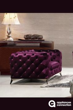 Divani Casa Delilah Modern Purple Fabric Chair Features Upholstered In Velour Fabric Color: Purple Stainless Steel Legs Requires Assembly x x Depth: Height: Code In Other Upholstery By Special Order Weeks) Design Furniture, Cheap Furniture, Luxury Furniture, Purple Furniture, Furniture Stores, Antique Furniture, Modern Furniture, Outdoor Furniture, Purple Chair