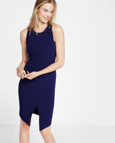 cut-out shoulder midi sheath dress
