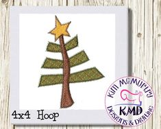 Embroidery Scrappy Christmas Tree: Size 4x4 Instant Download | Etsy
