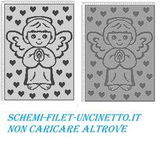 copertina con angioletto filet uncinetto schema punto croce gratis