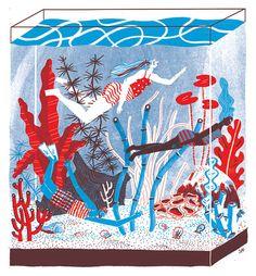 Aquarium Screenprint - Limited Edition of 15 op Etsy, 33,35€