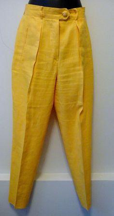 Escada Vintage Yellow Gold Linen Pleated Waist Pants Size 36 / 6 Retail $598. #ESCADA #Classic