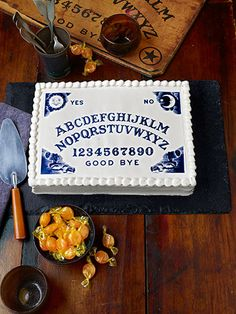 71 Halloween Cakes That Are Wickedly Impressive 71 Halloween Cakes That Are Wickedly Impressive All Of Your Party Guests Will Be Delighted By These Boo Tiful Desserts Ouija Board Cake Halloween Cake Pops, Halloween Tags, Halloween Desserts, Halloween Food For Party, Halloween Festival, Halloween Birthday, Holidays Halloween, Halloween Crafts, Halloween Decorations