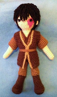 "Zuko - from the animated TV series ""Avatar, the Last Airbender."" Free crochet pattern by Becky Ann Smith."