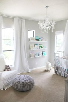 Revere Pewter - great gray paint and love the ceiling to floor curtains Sloan Nurseri