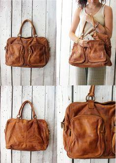 TASC bag 5 -Handmade Italian Brown Leather Messenger Bag di LaSellerieLimited su Etsy