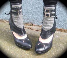 Amelia Herringbone Spats with buckles 1 PAIR by ashesandempires