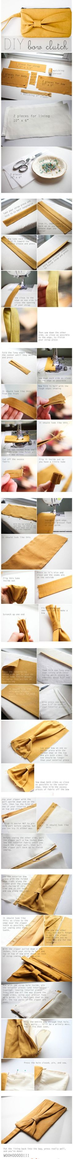 DIY bow clutch. DOING THIS. Also, I love the color they used. I am considering it.