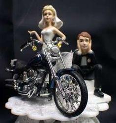 Motorcycle Wedding Cake Topper 3 Skin Tones