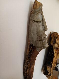Kopf aus Knetbeton auf Treibholz 38 cm Greek, Statue, Diy, Animals, Driftwood, Play Dough, Sculptures, Do It Yourself, Animais