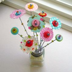 Your place to buy and sell all things handmade : Valentine Flowers Valentine Button Bouquet Flower by tracyBdesigns Crafts For Kids, Arts And Crafts, Paper Crafts, Diy Crafts, Button Bouquet, Button Flowers, Button Art, Button Crafts, Fabric Flowers