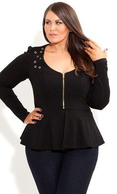City Chic - RIVET PONTE PEPLUM JACKET - Women's plus size fashion