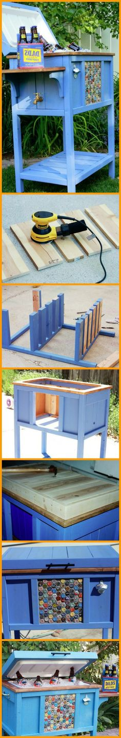A DIY outdoor wooden cooler stand. Backyard Projects, Outdoor Projects, Home Projects, Outdoor Decor, Woodworking Plans, Woodworking Projects, Wooden Cooler, Patio Cooler, Cooler Stand