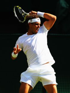 Rafael Nadal of Spain in action during his Gentlemen's Singles first round match…