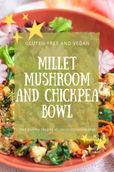 This is the recipe I can make every day. It is great because I can add whatever vegetables I have at home, and it will always taste delicious. The recipe for millet mushroom & chickpea bowl is so easy to make and you will love it! It is full of flavor, protein and it is so healthy for us. #millet #dinner #healthy